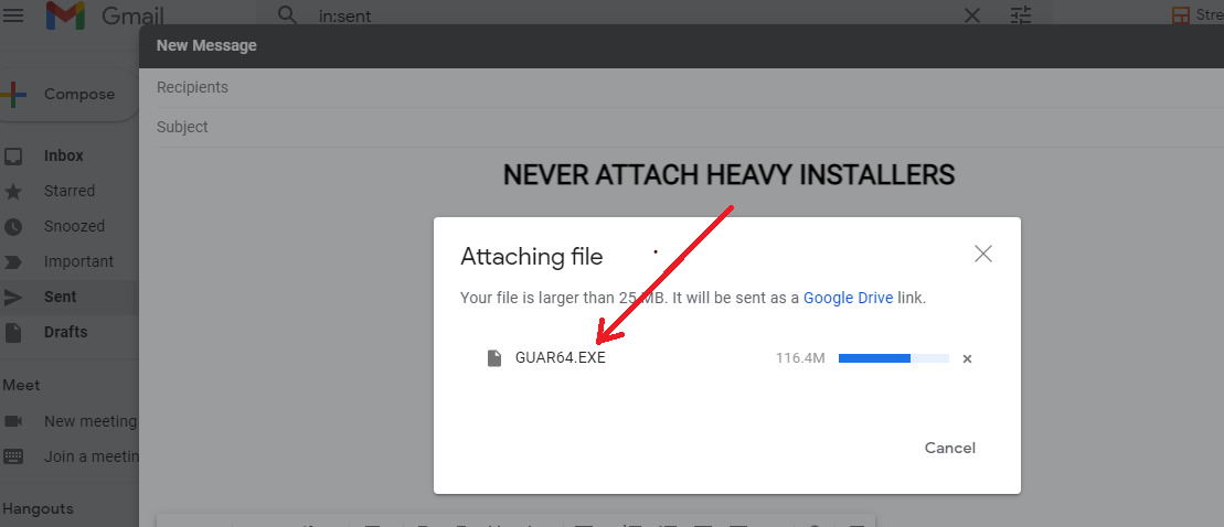 Avoid Installers in email attachment format