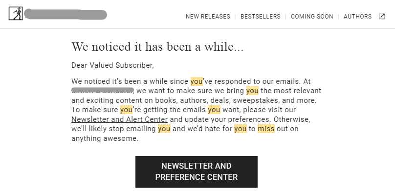 We've Missed You Email